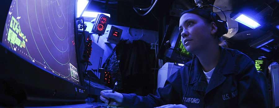 Woman-calibrating-a-radar-system