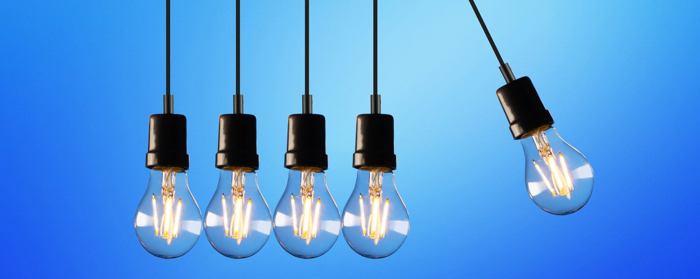 Five bulbs hanging and energy efficiency